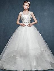 Ball Gown Wedding Dress Court Train Straps Tulle with Flower