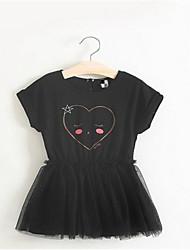 Girl's Black / White Dress,Polka Dot Rayon Summer