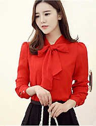 Women's Solid Red / White Blouse,Round Neck Long Sleeve