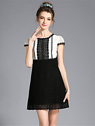 Fashion Vintage Plus Size Women's Elegant Embroidered Hollow Lace Patchwork Short Sleeve Dress Party/Daily
