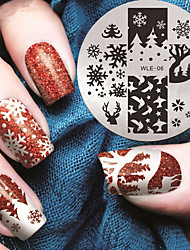 2016 Latest Version Fashion Pattern Snowflake And Elk Nail Art Stamping Image Template Plates