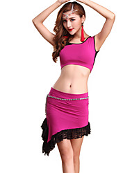 Belly Dance Outfits Women's Training Lace / Modal Lace 2 Pieces Fuchsia / Purple / Red / Yellow Belly Dance Sleeveless Natural