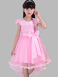 A-line Asymmetrical Flower Girl Dress - Lace / Satin / Tulle Short Sleeve Jewel with