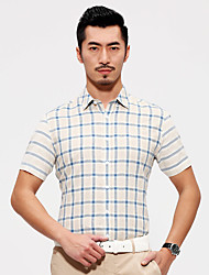 Seven brand hot selling summer men's clothing short sleeve shirt casual shirts slim sit stylish plaid men dress shirt