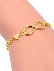 Silver Heart 8 Shape Chain & Link Bracelet Jewelry