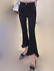 Women's Wide Leg|Tassel Solid Black Jeans / Bootcut Pants,Casual / Day
