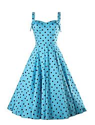 Women's Vintage Polka Dot A Line Dress,Strap Midi Cotton