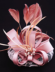 Women's Satin / Lace / Feather / Flax Headpiece-Wedding / Special Occasion / Casual / Outdoor Fascinators 1 Piece