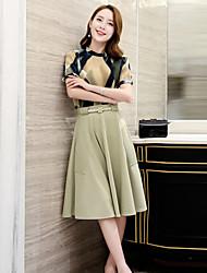Women's Simple Print Sheath Dress,Round Neck Knee-length Polyester