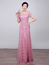 Formal Evening Dress Ball Gown Scoop Floor-length Lace / Satin / Tulle with Pearl Detailing
