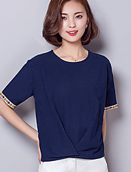 Women's Solid Blue / White / Green Blouse,Round Neck Short Sleeve