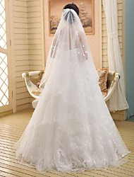 Wedding Veil One-tier Chapel Veils Pencil Edge Lace White