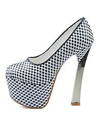 Calçados Femininos-Saltos-Saltos / Peep Toe / Plataforma / Arrendondado-Salto Grosso-Preto / Azul / Roxo / Branco-PU-Social / Casual /