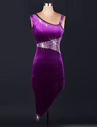 Ballroom Dance Dresses Women's Performance Spandex Draped 1 Piece Purple Modern Dance Dress