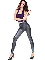 Damen Legging - Einfarbig / PU PU / Elasthan Medium