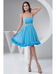 Knee-length Chiffon Bridesmaid Dress A-line Sweetheart