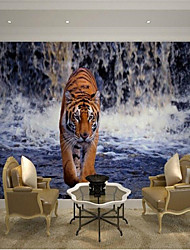 "(3'2 ""x 1'96'' ft) High Quality Flash Silver Cloth Hd Stereoscopic 3d Waterfall Tiger Photo Wallpaper Mural"
