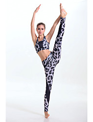 Women's Fashion Leopard Pattern High Elasticity Yoga Clothing Sets/Suits