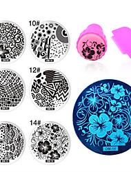 6pcs/lot Polish Print Nail Image Plate Stamper Scraper Set DIY Manicure Tools