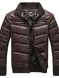 Lesmart Men's Stand Long Sleeve Down & Parkas Gray / Brown - MDME10413