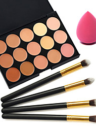 15 Colors Concealer+4pcs Black Handle Cosmetic Makeup Brush Set +Beauty Makeup Foundation Egg Puff(Assorted Sets)