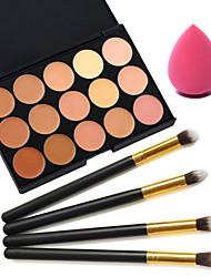 15 Farben Concealer + 4pcs schwarzen Griff Kosmetik Pinsel-Set + Beauty Make-up Grundlage Ei puff (sortierte Sets)