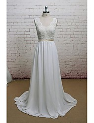 Sheath/Column Wedding Dress-Ivory Court Train V-neck Chiffon / Lace