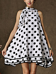 Women's Holiday Boho A Line Dress,Polka Dot Crew Neck Above Knee Sleeveless White Linen Summer