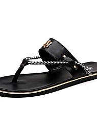 Men's Casual Leather Flip-Flops Maserati Sandals Beach Shoes Men Slippers