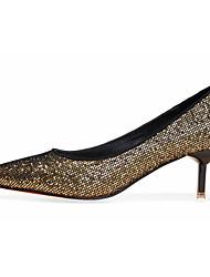 Damen High Heels Komfort Stretch - Satin Herbst Normal Komfort Stöckelabsatz Schwarz Silber Golden 5 - 7 cm