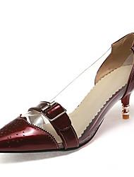 Chaussures Femme-Bureau & Travail / Habillé-Noir / Vert / Rouge / Argent-Kitten Heel-Talons / Bout Pointu / Bout Rapporté-Talons-