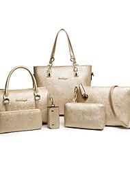 Damen PU Alltag Umhängetasche / Beutel / Brieftasche / Bag Sets Weiß / Blau / Gold / Schwarz / Mehrfarbig