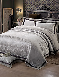 Black and gray Queen King Size Bedding Set Luxury Silk Cotton Blend Duvet Cover Sets