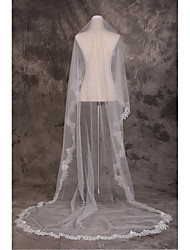 Wedding Veil One-tier Cathedral Veils Cut Edge Tulle Lace Beige