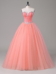 Formal Evening Dress-Watermelon A-line Strapless Floor-length Satin / Tulle