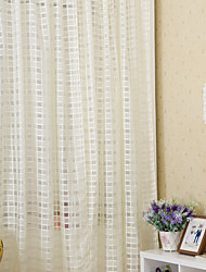 Two Panels Country Living Room Polyester Sheer Curtains Shades