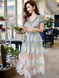 Women's Lace Street chic Jacquard Swing Dress,Sweetheart Midi Cotton / Spandex
