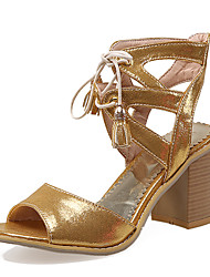 Women's Shoes Chunky Heel Peep Toe / D'Orsay & Two-Piece Sandals Party & Evening Silver / Gold / Peach