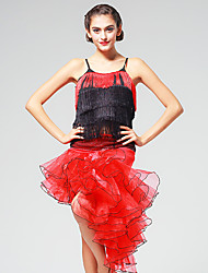 Latin Dance Outfits Women's Performance Sequined / Tulle Ruched / Sequins / Tassel(s) 2 Pieces Red Latin Dance Sleeveless