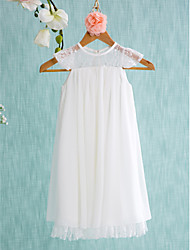 A-line Short / Mini Flower Girl Dress - Chiffon Sleeveless Jewel with