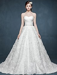A-line Wedding Dress Floral Lace Court Train Sweetheart Satin with Beading