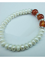 Bracelet Grappe Perle / Agate Onyx / Perle / Strass Femme