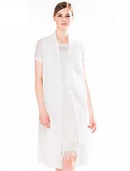 Goelia® Women's Shirt Collar Sleeveless Jackets Beige-163F6A060