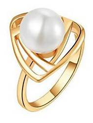Women's Ring Silver Plated Pearl Rings Fashion Jewelry for Women Wedding Engagement Ring