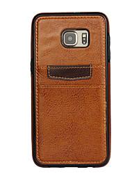 Für Samsung Galaxy Hülle Kreditkartenfächer Hülle Rückseitenabdeckung Hülle Einheitliche Farbe PC Samsung S6 edge plus / S6 edge / S6