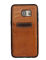 Для Кейс для  Samsung Galaxy Бумажник для карт Кейс для Задняя крышка Кейс для Один цвет PC Samsung S6 edge plus / S6 edge / S6