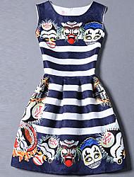 De las mujeres Línea A Vestido Bonito Estampado Mini Escote Redondo Poliéster