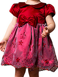 Girl's Red / Beige Dress Cotton Spring / Fall