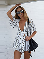 Women's Striped White Jumpsuits,Sexy / Casual / Day Deep V ½ Length Sleeve