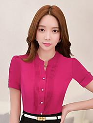 Women's Solid Blue / White Shirt,Shirt Collar Short Sleeve